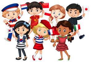 Les enfants viennent de différents pays vecteur