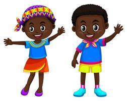 Africain garçon et fille souriant vecteur