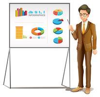 Homme d'affaires présentant des graphiques au tableau vecteur