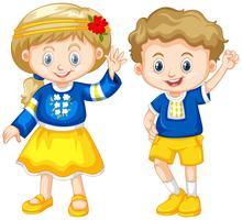 Garçon et fille d'Ukraine vecteur