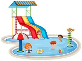 Enfants au parc aquatique isolé vecteur