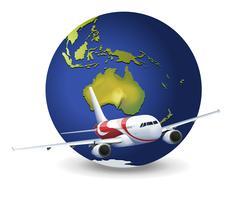 Globe terrestre et avion vecteur