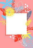 Modèle de carte de voeux de l'été avec des feuilles tropicales sur fond et place pour le texte. Modèle d'illustration vectorielle