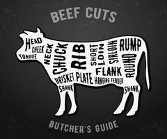 Guide de boucher coupes de boeuf vecteur