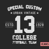 Timbre vintage de l'équipe du Collège