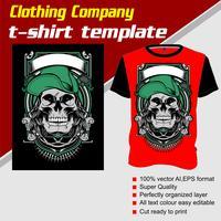 Modèle de t-shirt, entièrement modifiable avec un vecteur de casquette portant le crâne