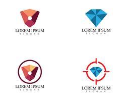 Recherche de diamants insérés icônes vectorielles Logo Template