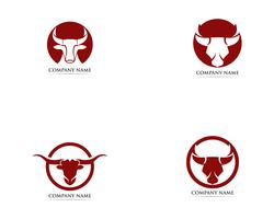 Modèle de logo et symboles de corne de taureau vecteur