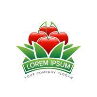 Modèle de concept de conception logo Apple jardinage vecteur