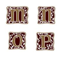 décoration lettre M, N, O, P modèle de concept de design logo vecteur