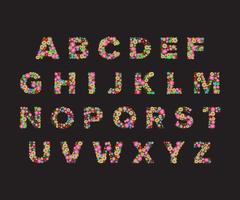 polices de fleur de vecteur, alphabet de la capitale