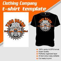 Modèle de t-shirt, entièrement éditable avec le vecteur pit bull