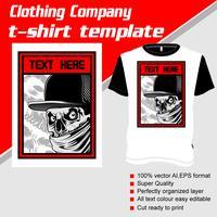 Modèle de t-shirt, entièrement modifiable avec le vecteur gangster