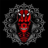 crâne satanique avec main dessin corne vecteur
