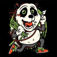panda courir tenant la main de bambou dessin vectoriel
