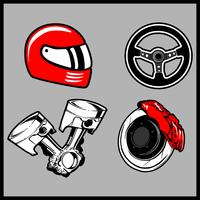 Illustration vectorielle d'un jeu de voiture de pièces vecteur