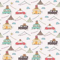 Camping Car Vector Pattern.