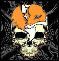 tête de crâne et de renard main dessin vectoriel