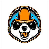 tête de panda portant la main de casque dessin vectoriel