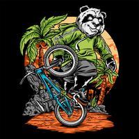 panda chevauche un vecteur de dessin de la main de bicyclette