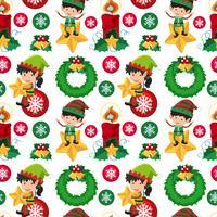 Design de fond sans couture avec elfe de Noël vecteur