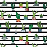 Modèle de cactus tropical dessiné à la main. Illustration vectorielle fabriqué à la main. vecteur