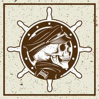 crâne de style grunge capitaine et vintage illustration de roue de navire