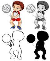 Ensemble de joueur de volleyball