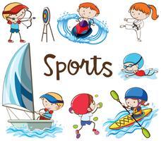 griffonnage d'enfants faisant des activités sportives vecteur