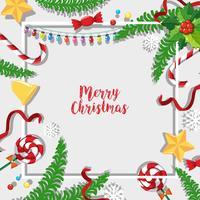 Modèle de carte de Noël avec des ornements et du gui