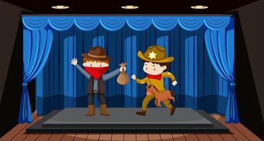 Les élèves jouent du théâtre sur scène