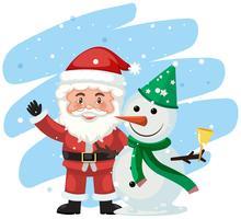 Scène du père Noël et du bonhomme de neige vecteur