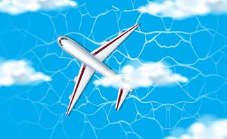 Une vue aérienne de l'avion dans le ciel vecteur