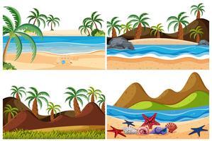 Ensemble de paysage de plage vecteur