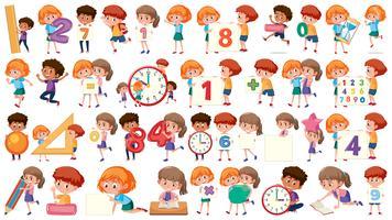 Ensemble d'enfants de mathématiques vecteur