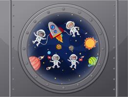 Vue de l'espace du vaisseau spatial vecteur