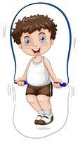 Un garçon à la corde à sauter vecteur
