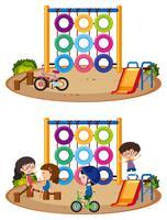 Deux scènes de jeux avec et sans enfants vecteur
