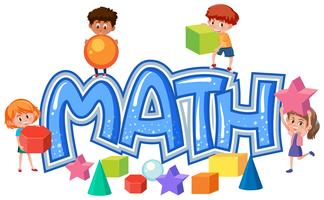 Groupe d'enfants sur l'icône math vecteur