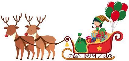 Elfe chevauchant une luge avec deux rennes vecteur