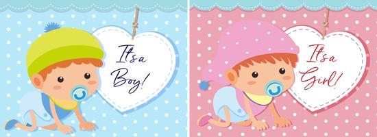 Modèle de bébé garçon et fille vecteur