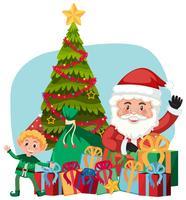 Père Noël et cadeau avec un assistant elfe