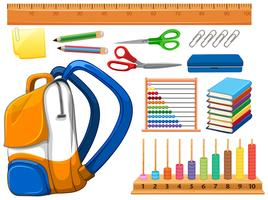 Set de fournitures scolaires vecteur