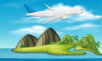 avion commercial au-dessus de l'île