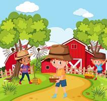 Enfants à la ferme nature vecteur
