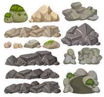 Ensemble de roches différentes vecteur
