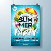 Vector Summer Party Flyer Design avec lettre de typographie, parasol et crème glacée sur fond bleu océan. Modèle d'illustration vacances vacances d'été