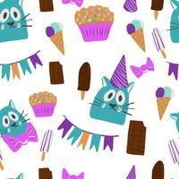 cartes de voeux joyeux anniversaire avec un design chat vecteur