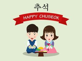 Festival de Chuseok avec enfants mignons de dessin animé coréen vecteur