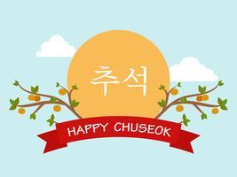 Arrière-plan du modèle Chuseok ou Hangawi (fête de la fête de la Corée) vecteur